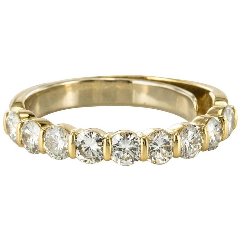 Modern 1 49 Carat Diamond 18 Karat Yellow Gold Wedding Band Ring For
