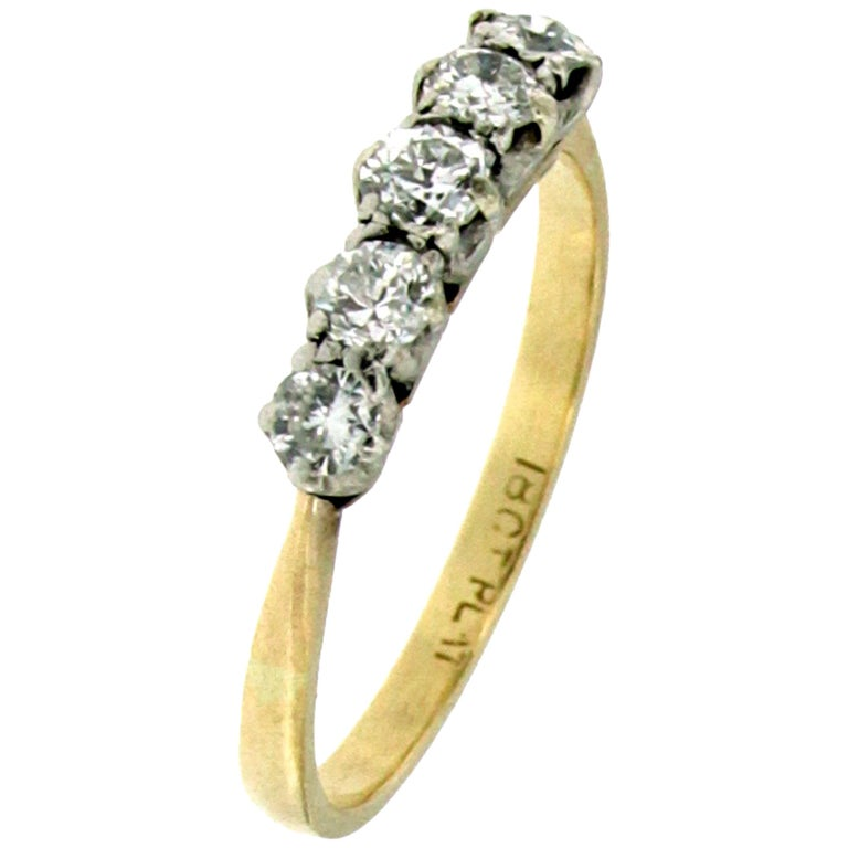 Antique Diamond Five-Stone Platinum Gold Ring