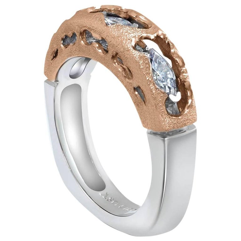 Alex Soldier Hidden Realms Diamond White Rose Gold Wedding Band One of a Kind
