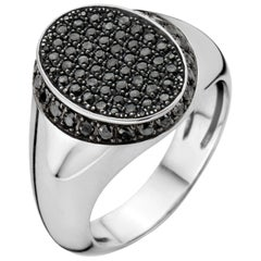 18 Karat White Gold Black Diamond Signet Ring