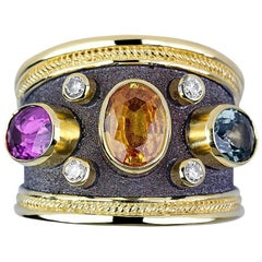 Georgios Collections 18 Karat Gold Byzantine Ring with Sapphires and Diamonds
