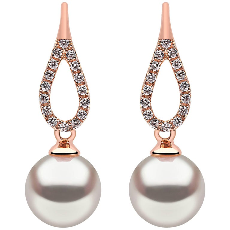 Yoko London Akoya Pearl and Diamond Earrings Set in 18 Karat Rose Gold For Sale