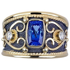 Georgios Collections 18 Karat Gold Byzantine Ring with Tanzanite and Diamonds