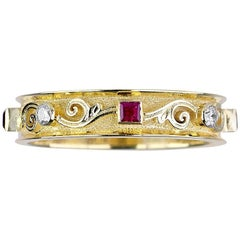 Georgios Collections 18 Karat Yellow Gold Thin Diamond Band Ring with Rubies