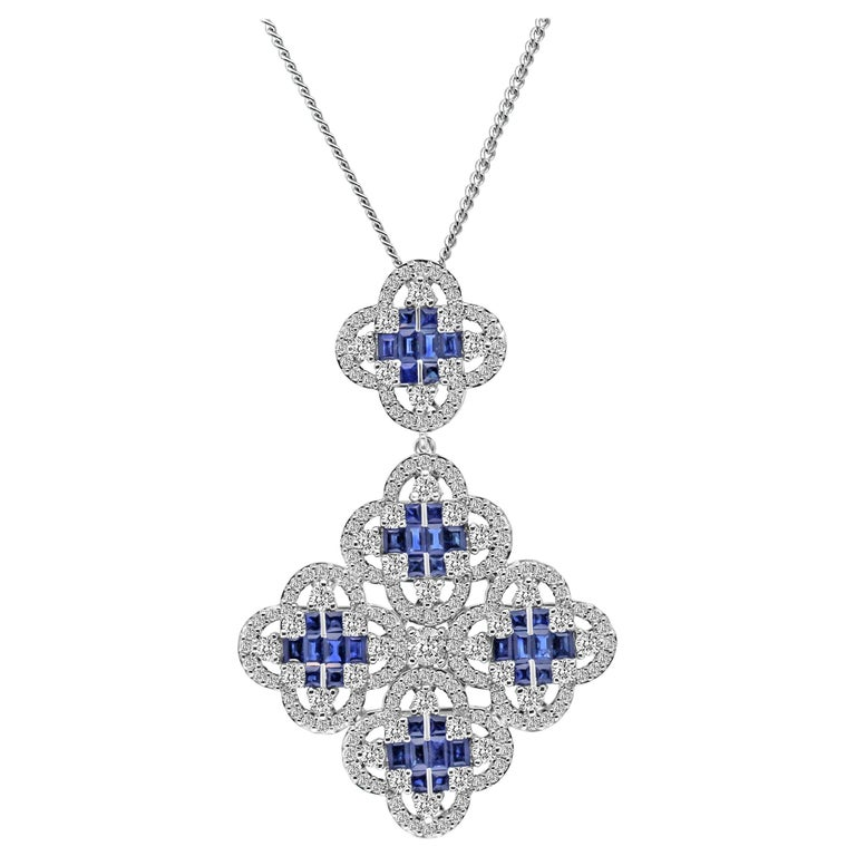 18 Karat White Gold Blue Sapphire and Diamond Clover Necklace Pendant