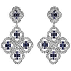 18 Karat White Gold Diamond and Blue Sapphire Dangling Clover Push-Back Earrings