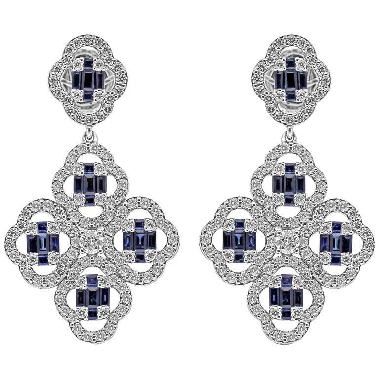 18Kt White Gold Diamond & Blue Sapphire gemstones Clover Push-Back Earrings