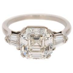 GIA Certified 4.17 Carat Asscher cut Platinum Diamond Engagement Ring