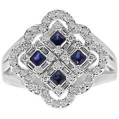18 Karat White Gold Diamond and Blue Sapphire gemstones Ring
