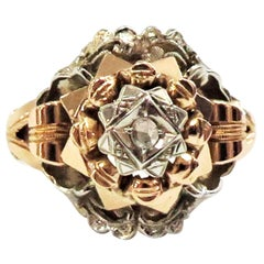 1920s White and Rose Gold Ring with Centre Rose Cut Diamond / 18 karat