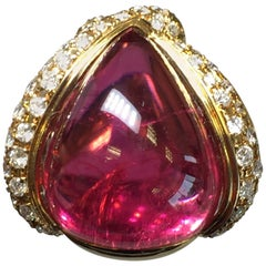 Red Tourmaline Pear Cabochon and Diamond Cocktail Ring in 18 Karat Yellow Gold