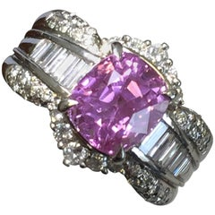 Ceylon Pink Sapphire Cushion and White Diamond Cocktail Ring in Platinum