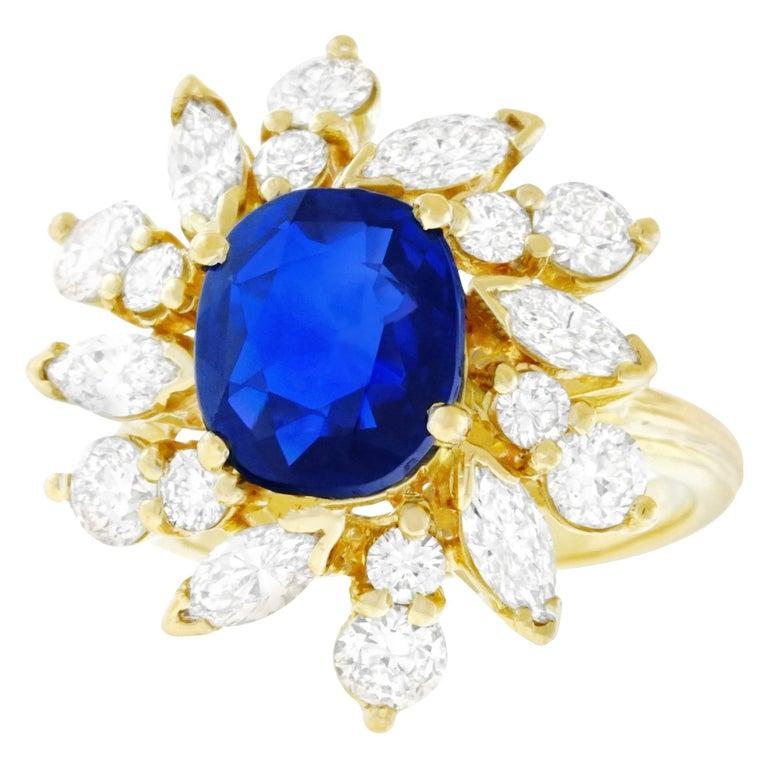 French Art Deco 3.57 Carat No Heat Sapphire and Diamond Set Gold Ring