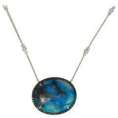 Frederic Sage 18.05 Carat Chrysocolla Diamond One of Kind Pendant with Chain