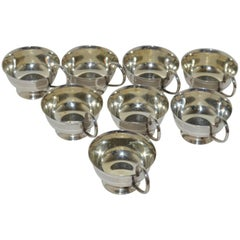 Boxed Set of Eight 1969 Swedish Solid Silver Expresso Mug Cups