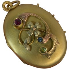 Antique Russian 14 Carat Gold Locket with Floral Pattern