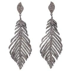 Pave`-Set Diamond Feather Earrings