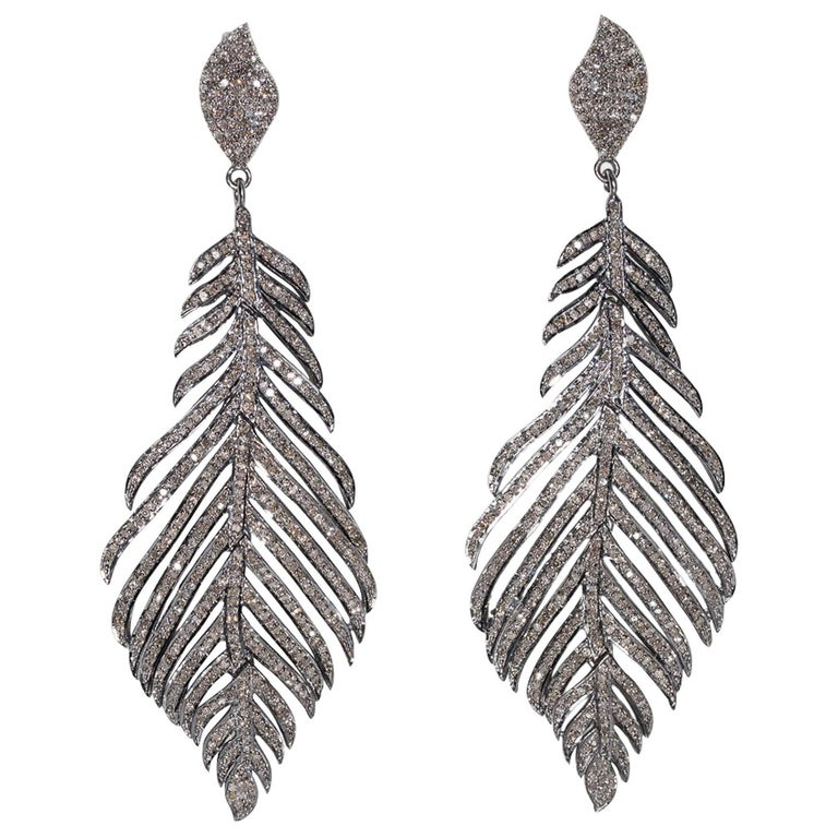 Pave`-Set Diamond Feather Earrings For Sale