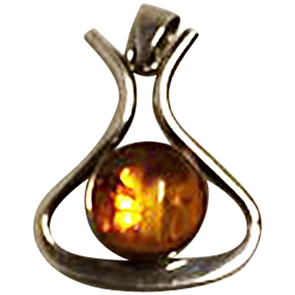 Niels Erik From Sterling Silver Pendant with Amber
