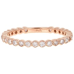 0.40 Carat Round Cut Diamond Rose Gold Stackable Band