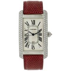 Cartier White Gold Diamond Large American Tank Anglaise self-winding Wristwatch