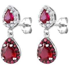 Pear Shape Ruby Diamond Halo Gold Drop Earrings