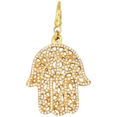 Diamond and Gold Hamsa Pendant