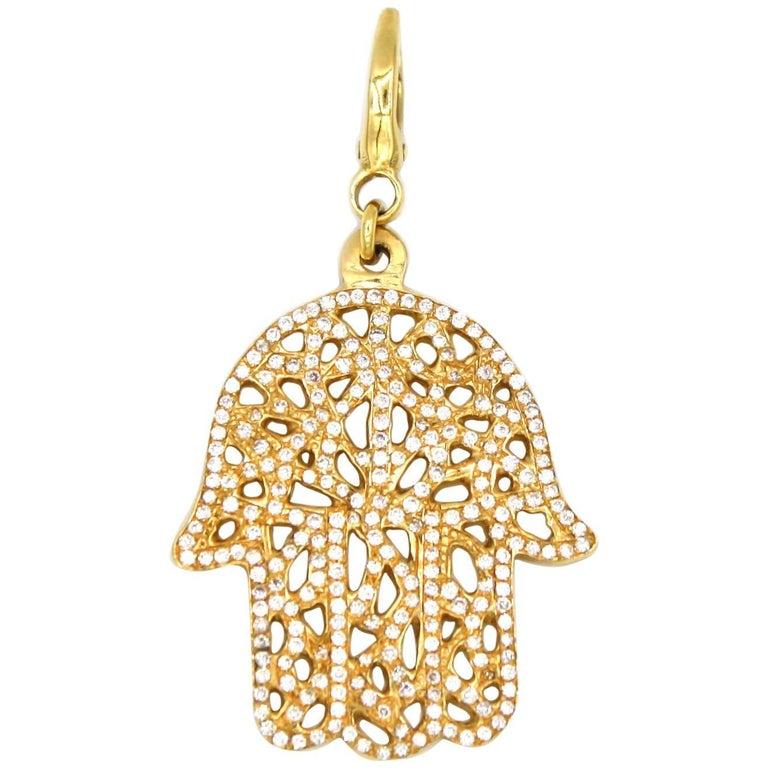 Diamond and Gold Hamsa Pendant