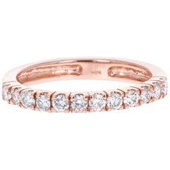 0.48 Carat Round Cut Diamond Rose Gold Band