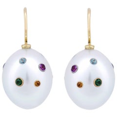 South Sea Pearl and Multi Gemstone Earrings