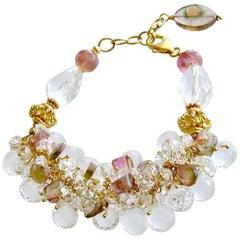 Watermelon Tourmaline Rock Crystal Adjustable Cluster Bracelet, Fleurs Confites