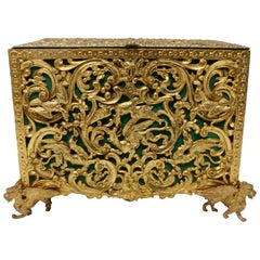 English, Gilt Bronze Doré, circa 18th Century Jewel Casket