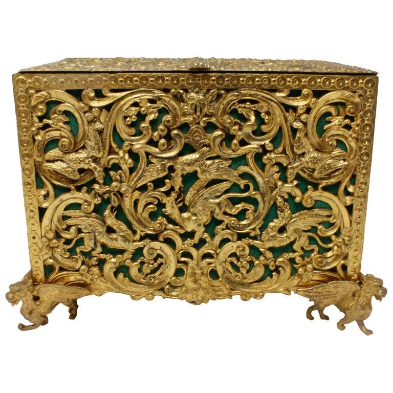 English, Gilt Bronze Doré, circa 18th Century Jewel Casket