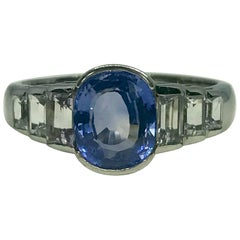 Natural Cornflower Blue Ceylon Sapphire and Diamond Ring