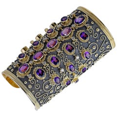 Georgios Collections 18 Karat Solid Gold Cuff Bracelet with Amethysts  Diamonds