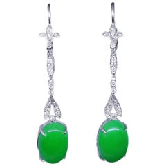 Jade Earrings Diamond Drop 18 Carat White Gold