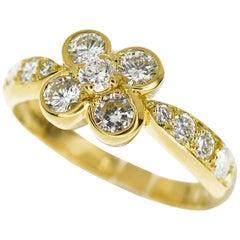 Van Cleef & Arpels Ombelle Diamond Ring 18 Karat Yellow Gold