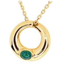 Chaumet Emerald 18 Karat Yellow Gold Anneau Pendant Necklace