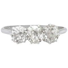 Antique 2 Carat Diamond and Platinum Three-Stone Ring