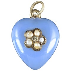 Antique Georgian Heart Locket 18 Carat Gold Enamel Diamond, circa 1830