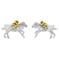 Horse and Jockey Cufflinks in Sterling Silver and 18 Karat Vermeil