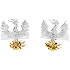 Phoenix Cufflinks in Sterling Silver and 18 Karat Vermeil