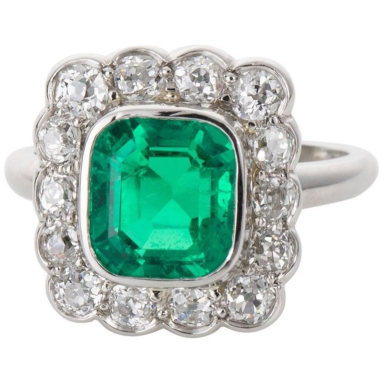 2.27 carat GIA Certified Emerald and Diamond Platinum Ring