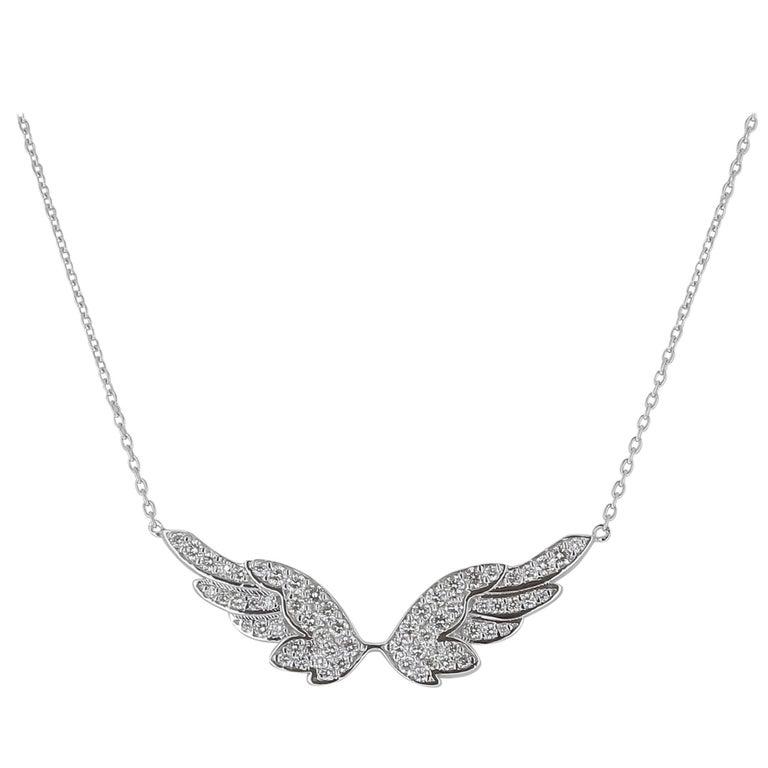 GVS Angel Wing Diamond Pendant Necklaces Chain Necklaces