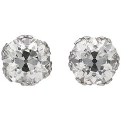 Old Mine Cushion Shape Diamond Stud Earrings, circa 1920