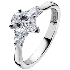 GIA Certified 0.90Ct Pear cut Diamond 18Kt White Gold Three-Stone Engament Ring