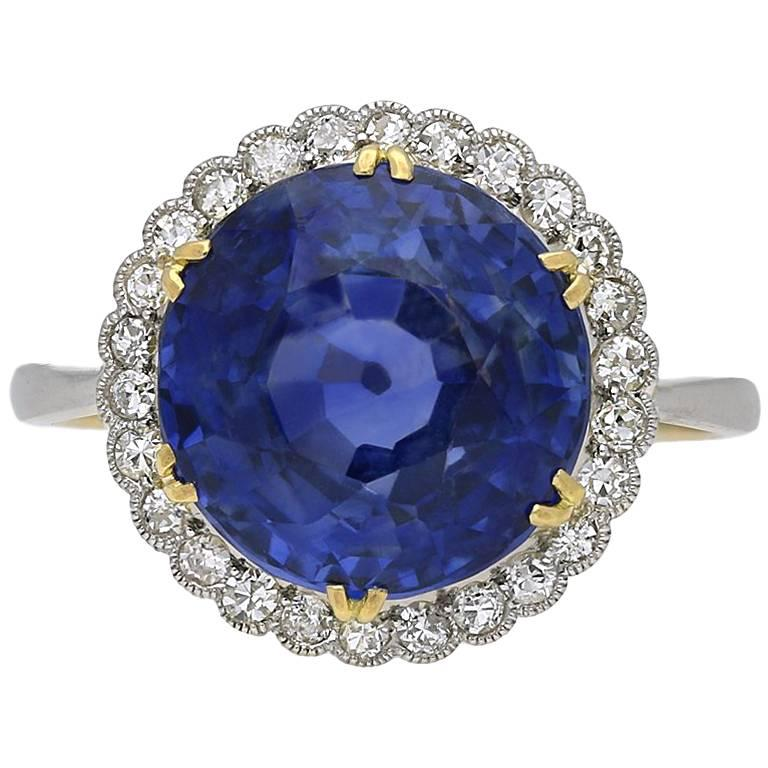 Edwardian Natural Ceylon Sapphire and Diamond Coronet Cluster Ring, circa 1915