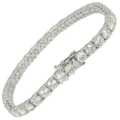 12.44 Carat Diamond Tennis Bracelet White Gold 18 Karat