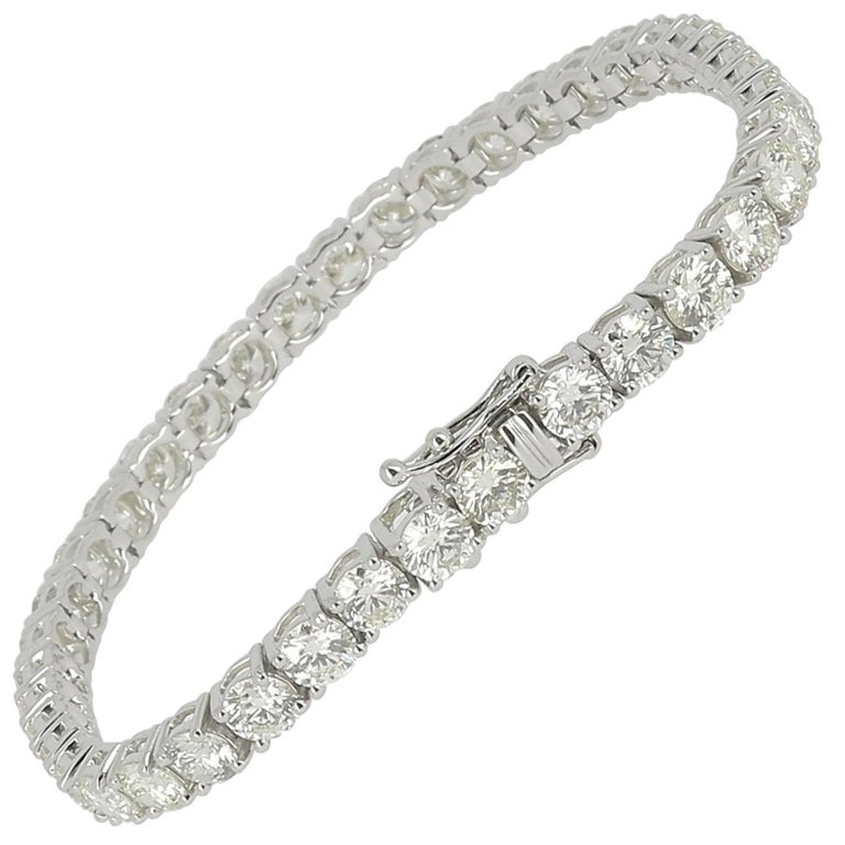 12.44 Carat Diamond Tennis Bracelet White Gold 18 Karat