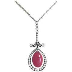 Conch Pearl and Diamond 18 Karat Gold Pendant